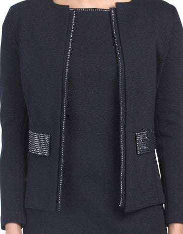 St. John Collection Metallic Knit  ModJacket with Studded Trims and Flap Pockets