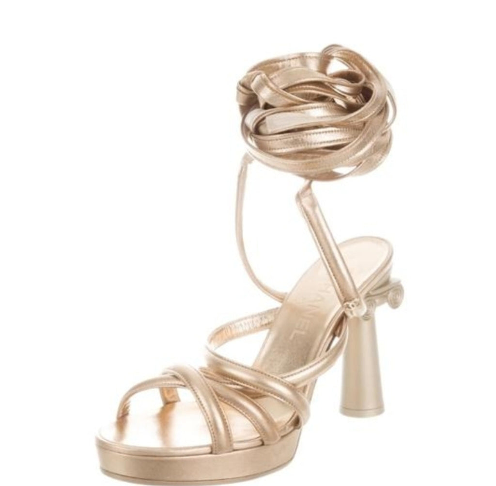 CHANEL  Leather Column Sandals