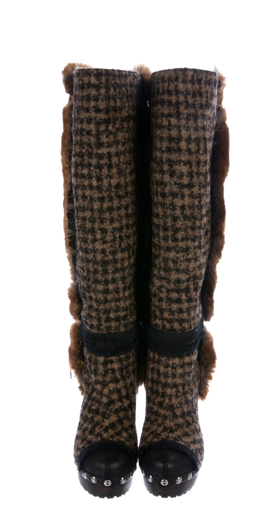 CHANEL  Tweed Knee-High Boots NWT  Size: 9.5  IT 39.5
