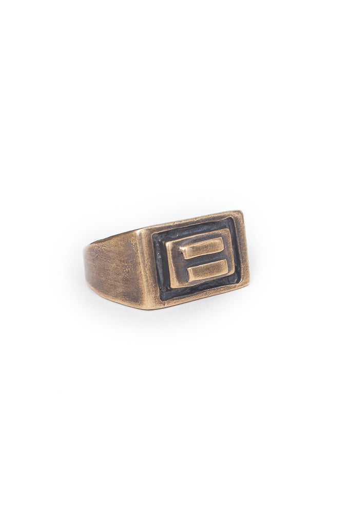 Fight for equality signet ring. Brass unisex signet ring has an equal sign design and is made for allies to promote allyship. Handmade by local jewelry designer, Nina Berenato, in Austin, Texas.