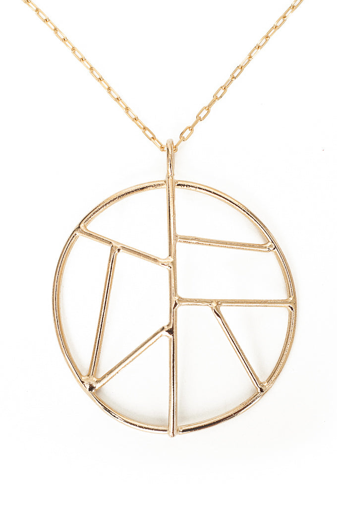 Mosaic necklace in 14k yellow gold. Geometric pendant necklace on a 30 inch chain. Hand made by local designer, Nina Berenato, in Austin, TX.