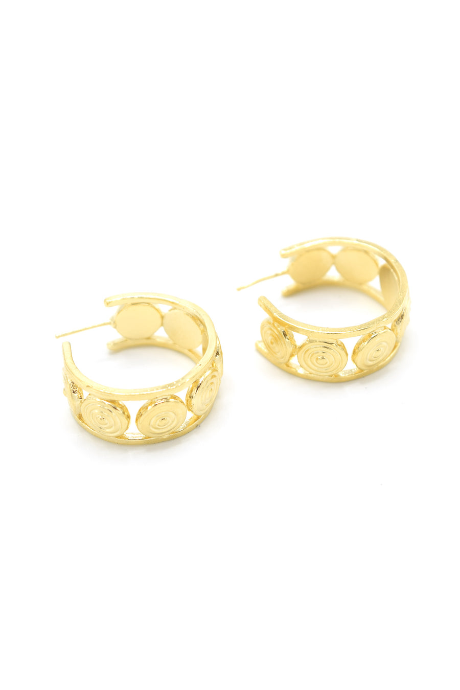 Aluna mini hoop earrings in 14k yellow gold. Hoops with circular design and are 1 inch in diameter. Handmade by local jewelry designer, Nina Berenato, in Austin, Texas.