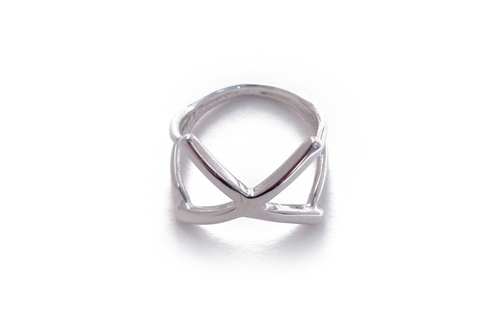 X Ring White Gold Modern Design Unique Handcrafted Geometric Design