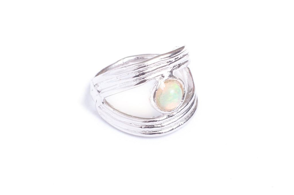 Visions Ring Fire Opal Eye Unique Modern Design Symbolic Luck Statement Piece Handcrafted in Austin TX Nina Berenato Jewelry
