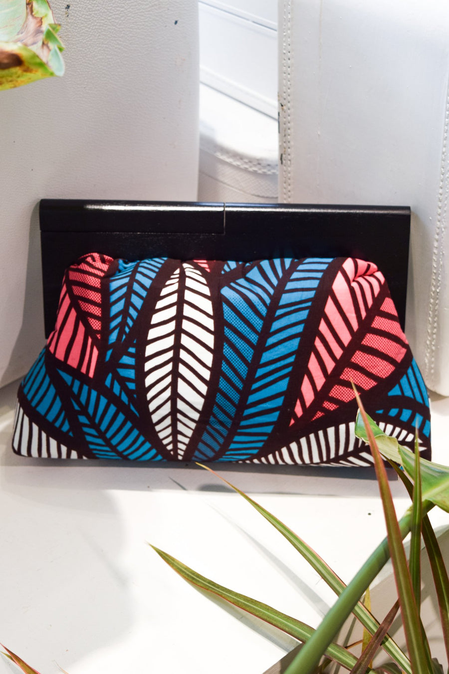 Wood Frame Ankara Clutch