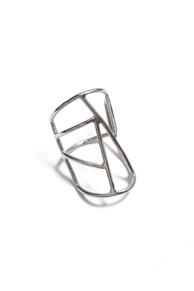 Spectrum ring in 14k white gold. Ring with a geometric design and interesting negative space. Handmade by local jewelry designer, Nina Berenato, in Austin, Texas.