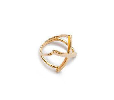 X Ring Gold Modern Design Unique Handcrafted Geometric Design