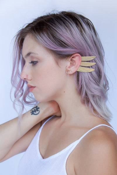 Gatherer Ear Cuff Winged Gold Unique Statement Wraps Around Ear