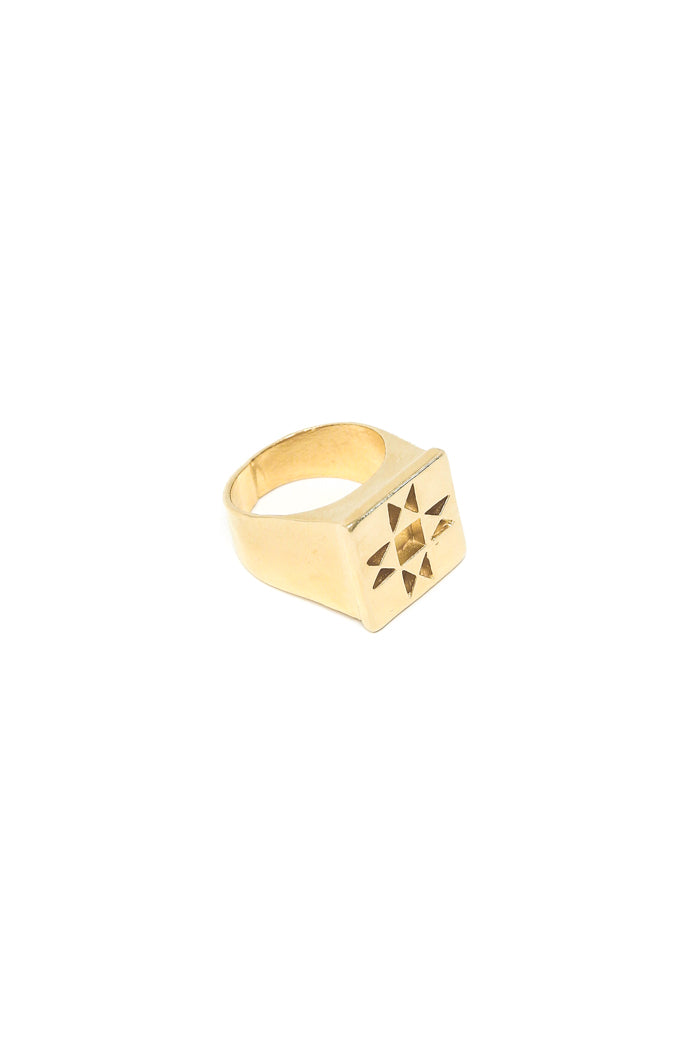 Oberlin star signet ring in 14k yellow gold. Chunky statement signet ring with quilt square design. Handmade by local jewelry designer, Nina Berenato, in Austin, Texas.