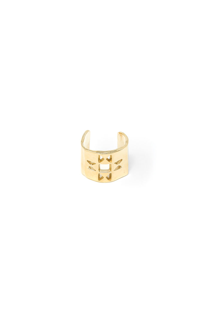 Oberlin star hair ring in 14k yellow gold. Hair accessory with a quilt square design. Handmade by local jewelry designer, Nina Berenato, in Austin, Texas.