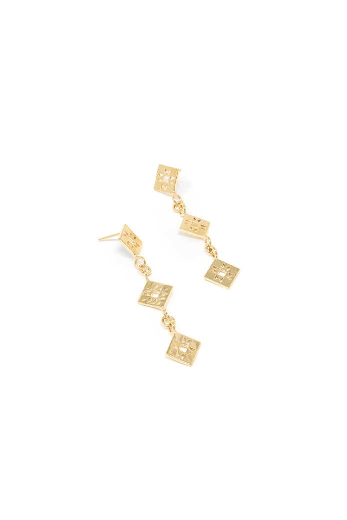 Small quilt dangle earring in 14k yellow gold. Dangle earrings with quilt patchwork designs linked together for movement. 2.5 inches in length. Handmade by local jewelry designer, Nina Berenato, in Austin, Texas.