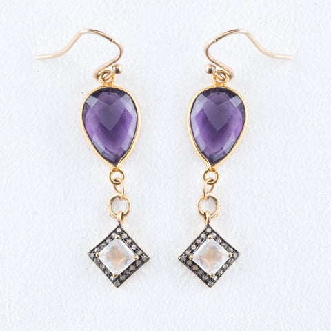 Allison Schiller Amethyst and Pave Diamond Earrings