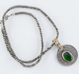Allison Schiller Green Onyx Coin Necklace in Pyrite