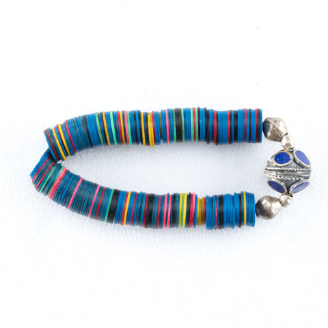 Allison Schiller Calypso Vinyl Beaded Bracelet in Electric Blue