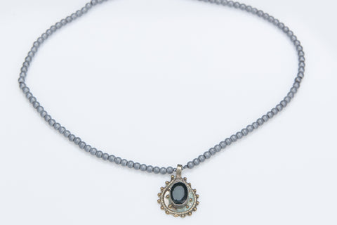 Allison Schiller Lapis Coin and Hematite Necklace