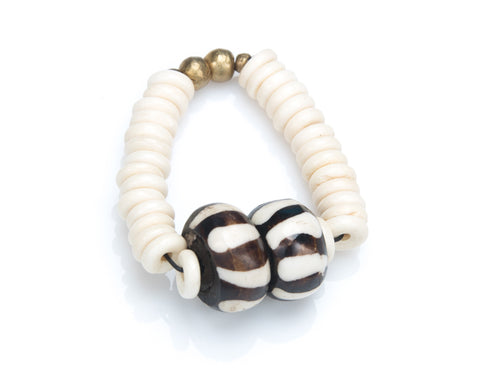 African Bone Beaded Stretch Bracelet