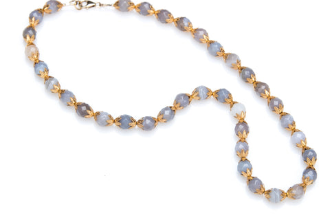 "Allison Schiller Moroccan 17"" Blue Lace Agate Necklace"