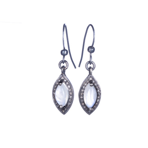 Allison Schiller Moonstone Pave Diamond Earrings