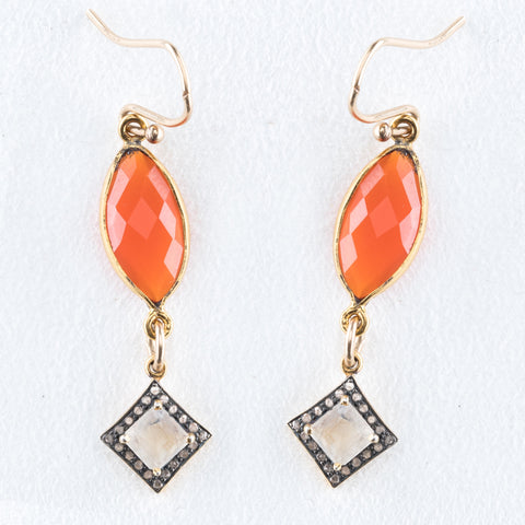 Allison Schiller Carneilan and Pave Diamond Earring