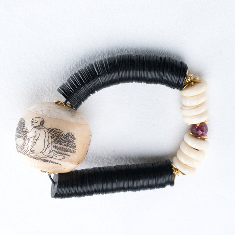 Allison Schiller African Bone Vinyl and Ruby Beaded Bracelet
