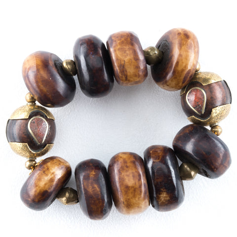 Allison Schiller African Hand Carved Gemstone Wooden Beaded Bracelet