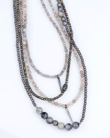 Allison Schiller Hematite and Pavé Diamond Sparkle Necklace