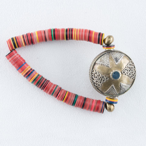 Allison Schiller Calypso Vinyl Brass Beaded Bracelet in Fireball