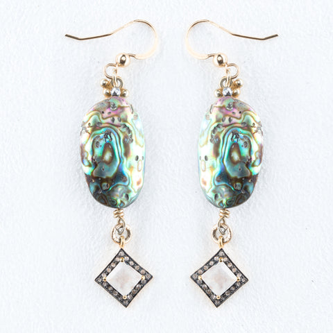 Allison Schiller Mother of Pearl and Pave Diamond Earring