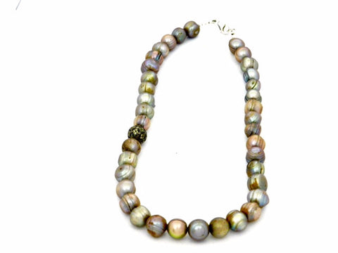 Allison Schiller Mother of Pearl and Pavé Diamond Necklace