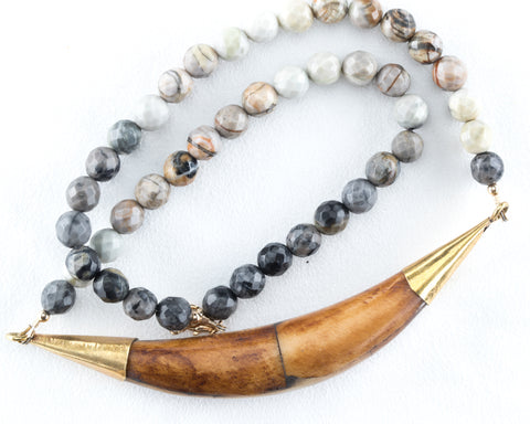 Allison Schiller Tibetan Horn Necklace in Botswana Agate
