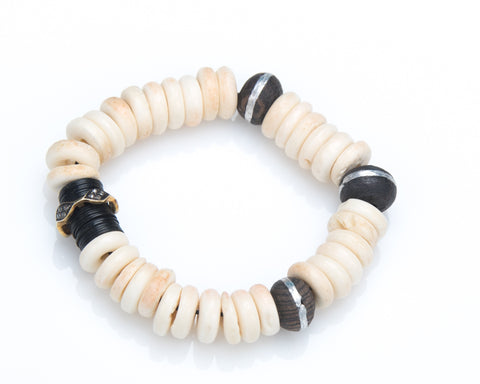 African Bone and Pave Diamond Beaded Stretch Bracelet