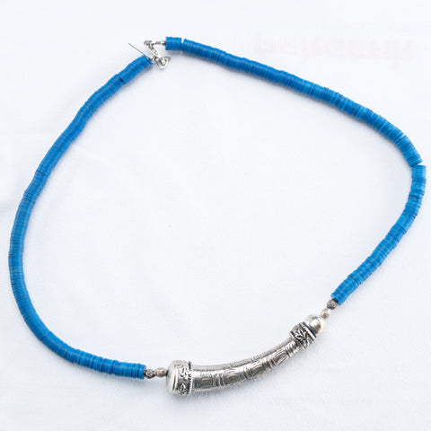 Allison Schiller Tibetan Blue Vinyl Beaded Collar