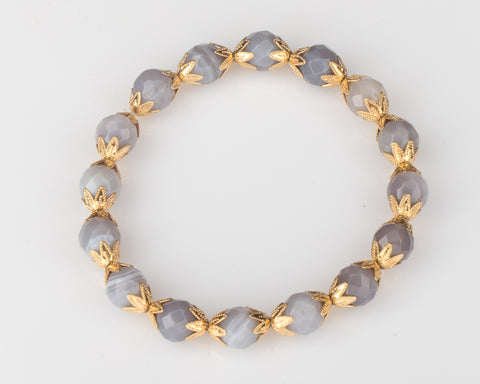 Allison Schiller Moroccan Blue Lace Agate Stretch Bracelet