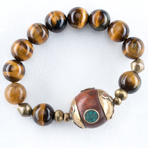 Allison Schiller African Beaded Tigers Eye Bracelet