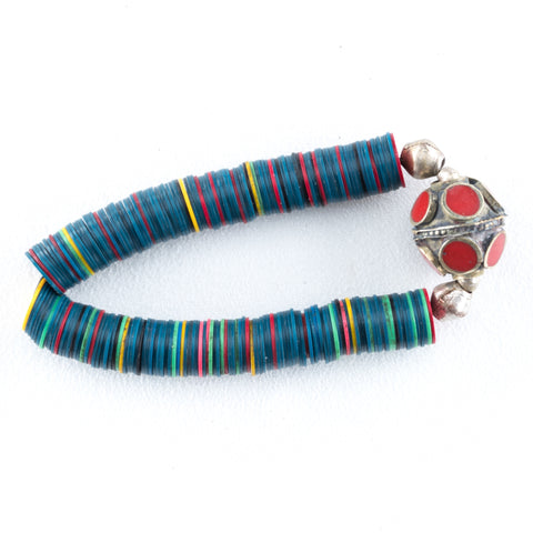 Allison Schiller Calypso Vinyl  Carnelian Beaded Bracelet in Electric Teal