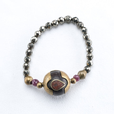 Allison Schiller African Beaded Pyrite and Ruby Bracelet