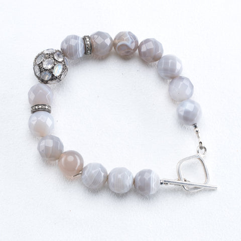 Pave Diamond and Moonstone Toggle Bracelet
