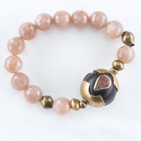 Allison Schiller African Beaded Morganite Bracelet