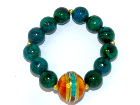 Allison Schiller Tibetan Amazonite and Amber Stretch Bracelet