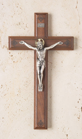 Walnut Crucifix with Engraving - The Paschal Lamb