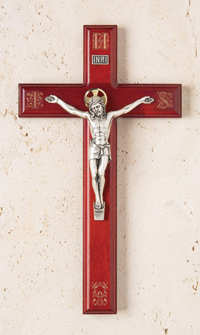 Rosewood Crucifix with IHS Engraving - The Paschal Lamb
