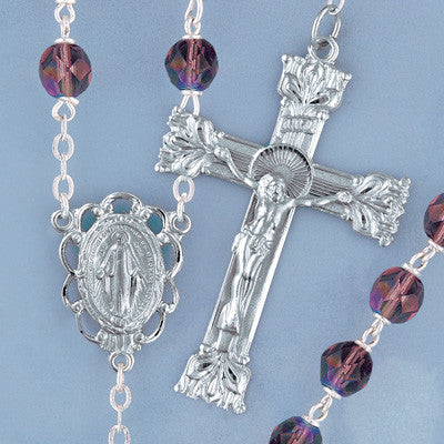 Amethyst Firepolished Crystal Rosary - The Paschal Lamb