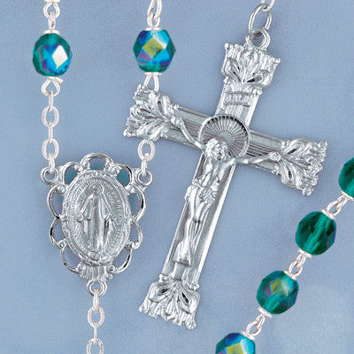 Emerald Firepolished Crystal Rosary - The Paschal Lamb