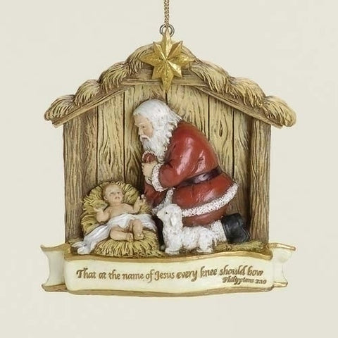 Kneeling Santa Ornament - The Paschal Lamb