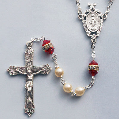 Ruby and Bohemian Crystal Rosary