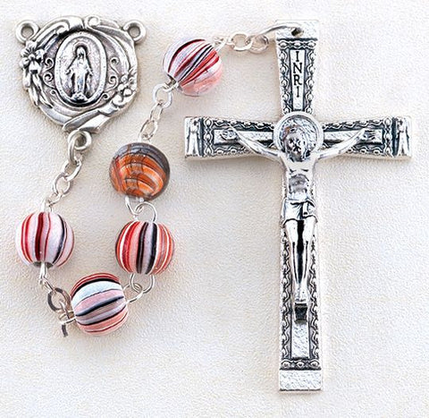 Red Grained Round Wood Rosary - The Paschal Lamb