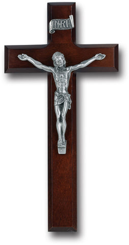 Dark Cherry Crucifix with Pewter Corpus - The Paschal Lamb