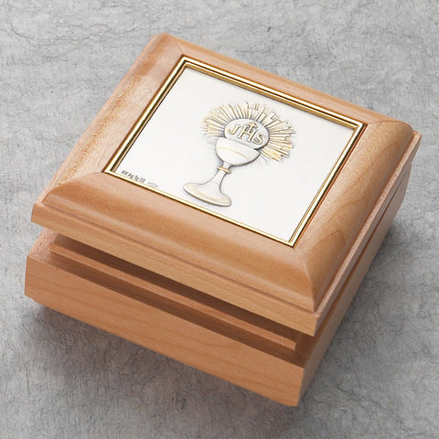 Maple First Communion Chalice Box - The Paschal Lamb