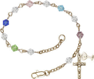 Multi-Colored Crystal First Communion Rosary Bracelet - paschallambselect.com