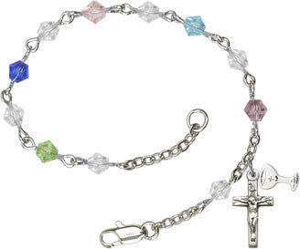Multi-Colored Crystal First Communion Rosary Bracelet - The Paschal Lamb